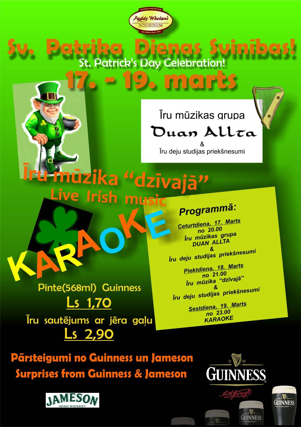 St. Patrick's Day at Paddy Whelan's - Poster